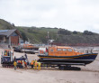 Trials at Exmouth beach of SC Innovation Launch and Recovery System featuring Shannon lifeboat